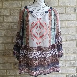New Directions Blouse/ Tunic Sheer Sz M
